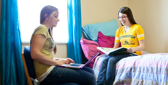 Two students studying in residence hall