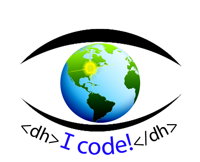 """I code"" / Eye Code Logo of Pitt-Greensburg's Center for the Digital Text"