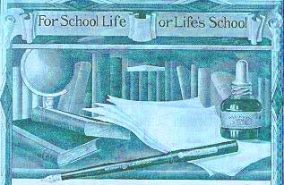 "Waterman Ink Ad, circa 1910, reading ""For School Life or LIfe's School"""