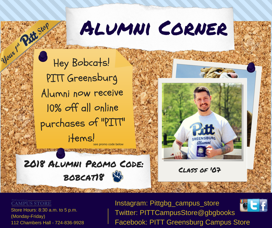 Alumni now receive 10% off all online purchases of Pitt items at the Campus Store