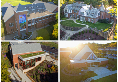 Collage: Millstein Library, Lynch Hall, Cassell Hall, Campana Chapel