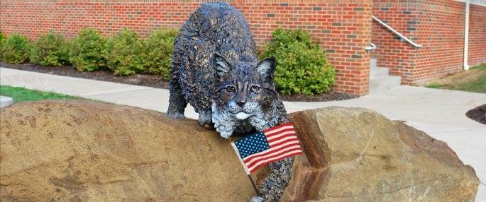Bruiser Bobcat mascot holding American Flag