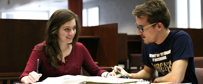 Pitt-Greensburg students in Millstein Library
