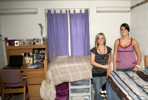 Roommates smiling in Robertshaw Hall room