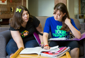 Students studying in Robertshaw common area
