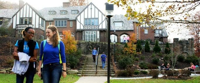 Students enjoying Pitt-Greensburg's scenic campus