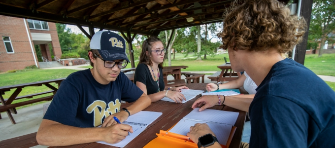 Four students studying at picnic table