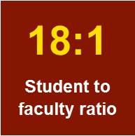 18 to 1 student to faculty ratio