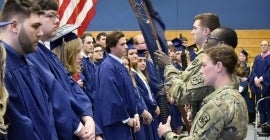 Military procession at graduation